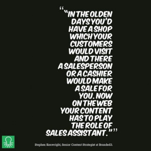 The changing role of the Sales Assistant in the #online world...