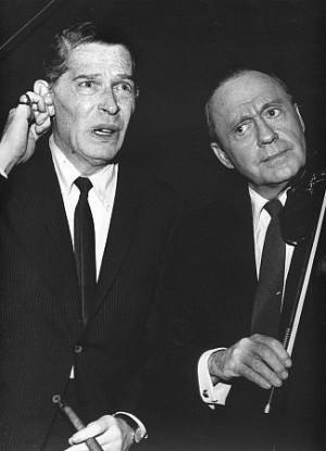 Milton Berle with Jack Benny, c. 1975.