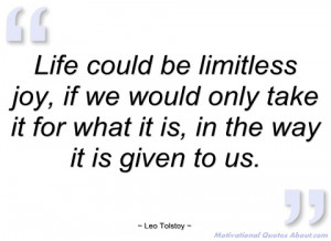 life could be limitless joy leo tolstoy