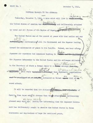 Part of the first draft of Roosevelt's speech, with handwritten ...