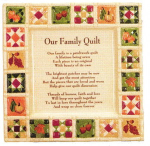 ... Patchwork Quilt design Plate with our family is a patchwork quilt poem