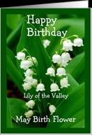 Happy Birthday Lily of the Valley May Birth Fower card - Product ...