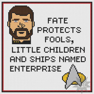 Star Trek:The Next Generation Riker quote counted cross stitch sampler ...