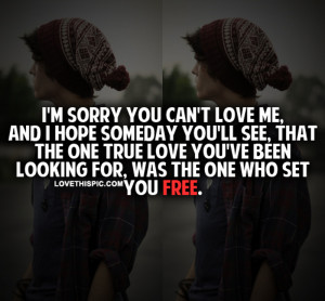 Sorry You Can't Love Me