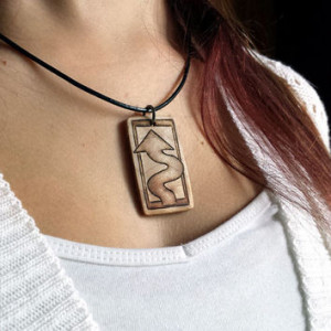 Winding Road Sign Necklace, Wood Pendant, Crooked Arrow Jewelry