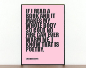 Literary Quote - Emily Dickinson - Book Quote - Bold Text Print - Word ...