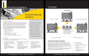 Kline Physical Security Systems 2-page flyer featuring unique design,