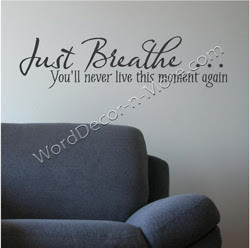 prize just breathe vinyl wall quote open to international ends