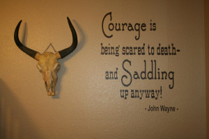 Cowboy quote John Wayne vinyl wall lettering 20 x 23 with BONUS decals