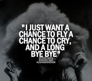 just want a chance to fly A chance to cry, and a long bye bye.