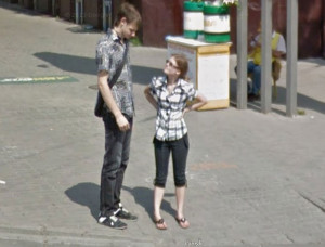 can't figure out whether this guy is tall, or the girl is short ...