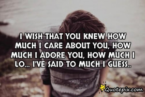 Wish That You Knew How Much I Care About You, Ho..