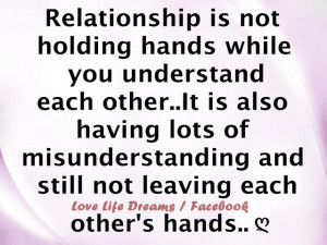 Relationship is not holding hands ...