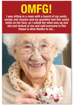Roflmao Weird Grandma Thanks Hilarious Picture Thank You Paper Card ...