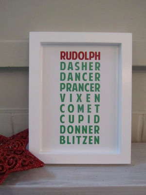 Christmas Decoration 'Reindeer' - Quote Wall Art