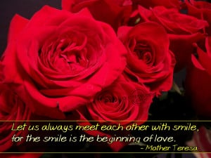 Christian Quote: Smile And Love by Mother Teresa Wallpaper Background