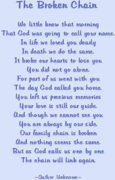 poem- the broken chain. My dear sister in law just got me a beautiful ...