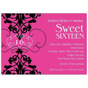 Fleur Pink Sweet 16 Invitations