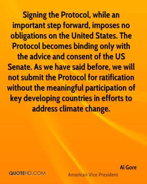 Al Gore - Signing the Protocol, while an important step forward ...