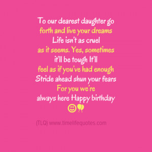Inspirational Quotes For Your Daughter On Her Birthday