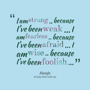 I am strong quote aside! And