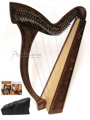 ... STRINGS MINSTREL IRISH CELTIC HARP FULL LEVERS w/ CASE, BOOKS & EXTRAS