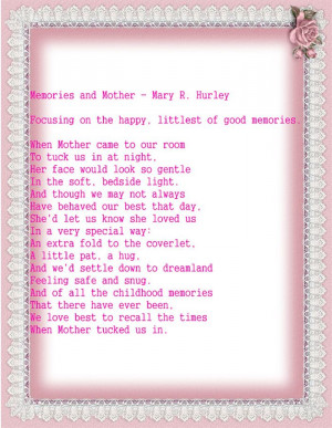 Special Short Happy Mother's Day 2015 Poems For Deceased Mothers