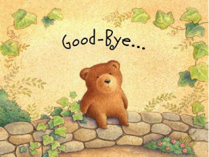 goodbye ecards sad little bear sitting on a wall with good bye message ...