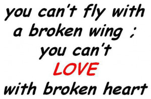 You Can't Fly With A Broken Wing You Can't Love With Broken Heart
