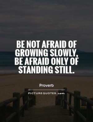 Be not afraid of growing slowly, be afraid only of standing still ...