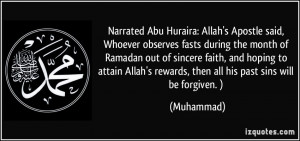 Narrated Abu Huraira: Allah's Apostle said, Whoever observes fasts ...