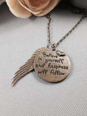 Inspirational quote necklace, angel wing necklace, feather necklace ...