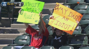 Image: Hilarious Father/Son Combo Fan Signs at White Sox-Tigers Game