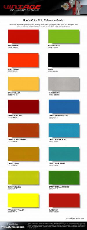 Honda Paint Color Chart