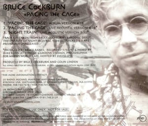 Bruce Cockburn Pacing The Cage USA Promo Deleted CD single CD5