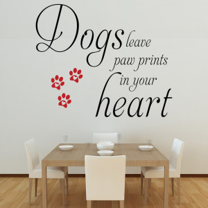 Details about Dogs Leave Paw Prints - Wall Decal Quote Sticker lounge ...