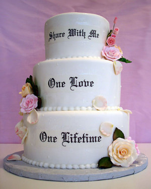 with your wedding cake, you can print your favorite movie funny quotes ...