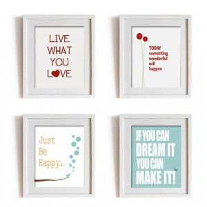 Wall decor art prints set of 4 inspirational quotes for living room ...