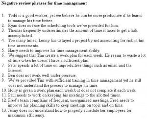 pictures of Negative Employee Evaluation Phrases