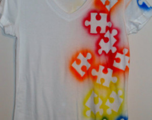 Autism Awareness Tee shirt - Puzzle piece, multi color ...