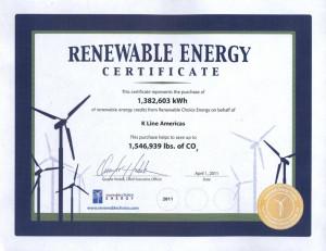 2011 KAM Renewable Energy Certificate