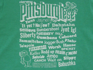 Details about FUNNY!! 80s vtg PITTSBURGH-ESE T SHIRT sayings SLANG