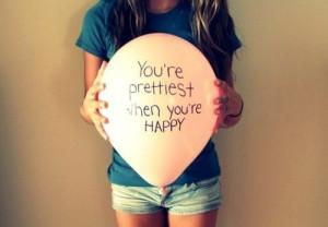balloon, girl, happy, pretty, quote
