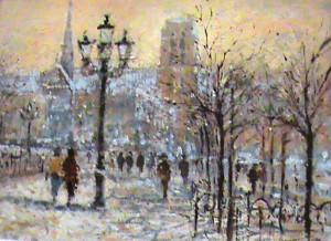 Gerald Green, British (b.1947) 'WINTER IN THE PLACE DE L'HOTEL-DE ...