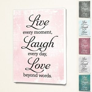 ... -Laugh-Love-Wall-Quote-Sign-Saying-Box-Canvas-Fabric-Print-6-Colours