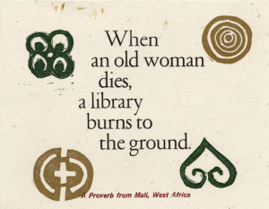 When an old woman dies, a library burns to the ground