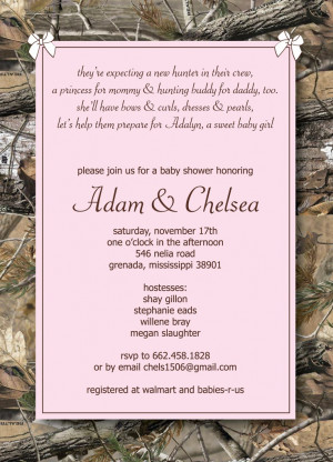 Pink Camo Baby Shower Invitations