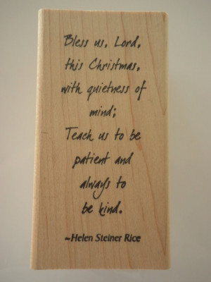 RESERVED FOR TA56 Helen Steiner Rice Quote Rubber Stamp Block Bless us ...