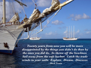 Mark Twain quote: Twenty years from now you will be more disappointed ...