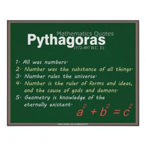 Pythagoras Mathematics quotes Poster